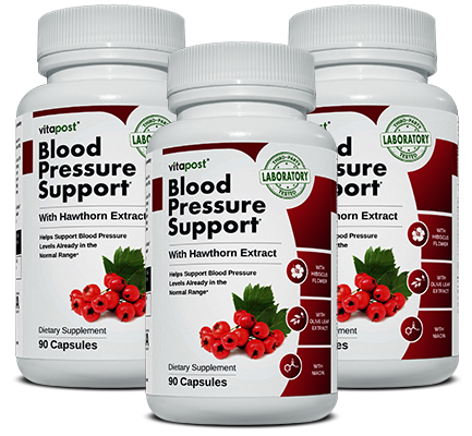 Image of 3 bottles of Blood Pressure Support, each bottle contains 60 capsules