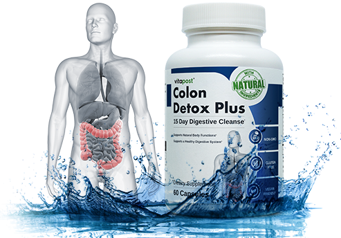 An image of human anatomy with the bottle of Colon Detox Plus