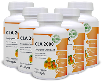 Image of 5 bottles of CLA 2000 Softgels