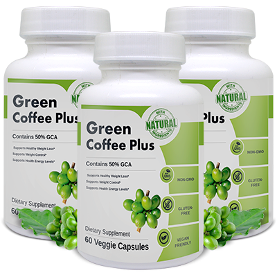Bottles of Green Coffee Plus a brand from Vitabalance
