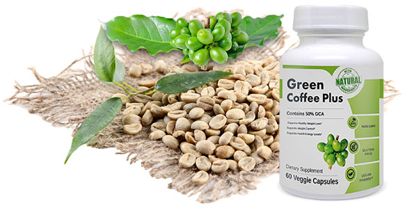 Green Coffee beans and product bottle