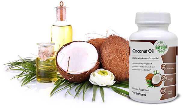 Combo of Coconut Oil bottle and fruit