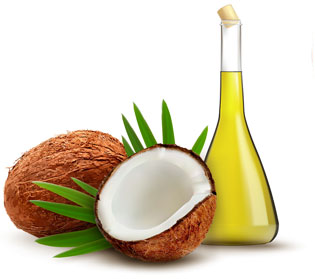 Pure Coconut Oil and fruit image
