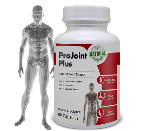 Image of human anatomy with ProJoint Plus bottle