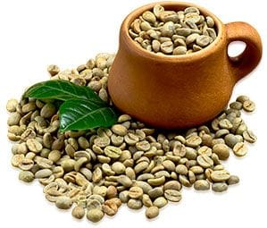 Green Coffee beans in a cup