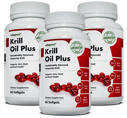 Image of 3 bottles of Krill Oil Plus, each bottle contains 60 capsules