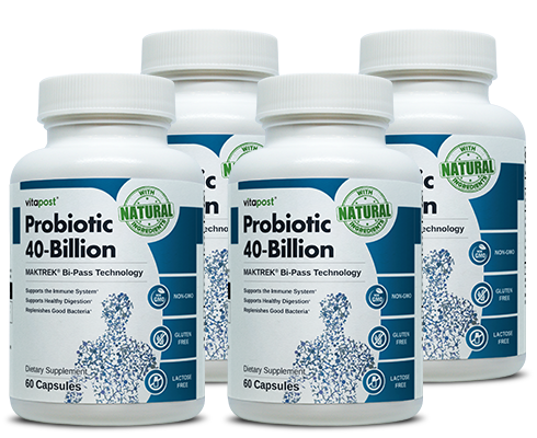 Finely printed bottles of Probiotic 40-Billion