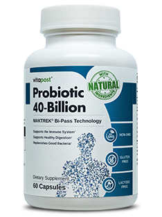 A bottle of Probiotic 40-Billion contains 60 capsules