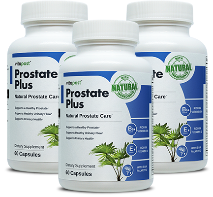 Image of 3 bottles of Prostate Plus, each bottle contains 60 capsules