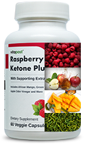 Ingredients displayed on Raspberry Ketone Plus bottle