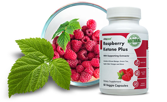 Image of Raspberry Ketone fruit and bottle