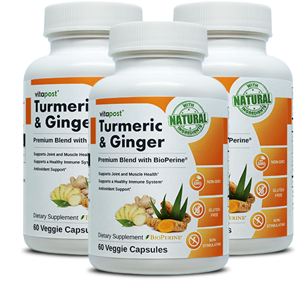 Bottles of Turmeric  & Ginger Capsules