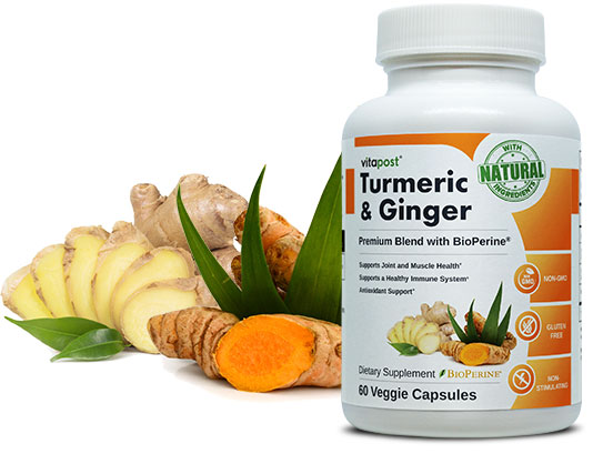 Image of Turmeric & Ginger Roots along with Finely Labelled Bottle