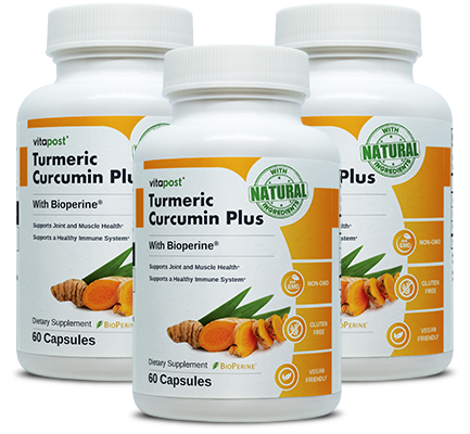 Bottles of natural superfood Turmeric Curcumin Plus