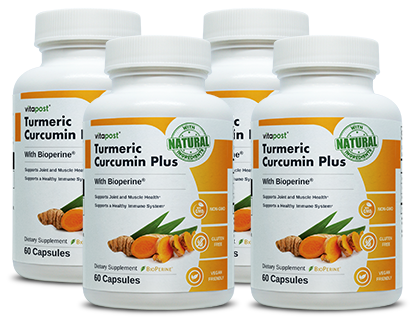 Each bottle contains 60 capsules of Turmeric Curcumin Plus
