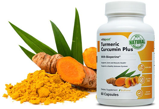 Finely printed bottle of Turmeric Curcumin Plus with roots, leaves and powder